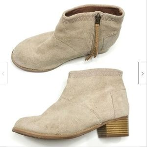 Toms Girls Zip Suede Leather Ankle Boots Booties